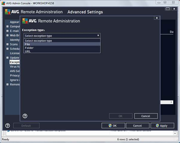 how to create exception virus avg